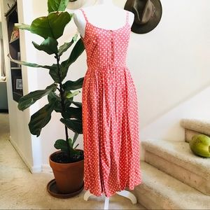 JCREW Vtg button front tank dress pink 6p midi